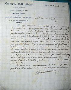 Lettera della fabbrica Giuseppe la Rocca. Archivio di Stato di Roma